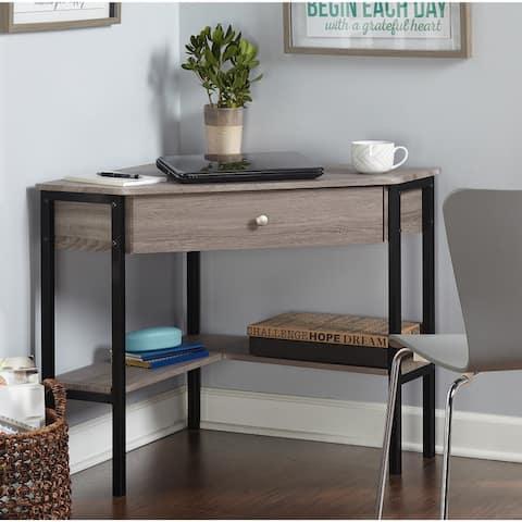 Porch & Den Lincoln Reclaimed Wood Modern Corner Desk