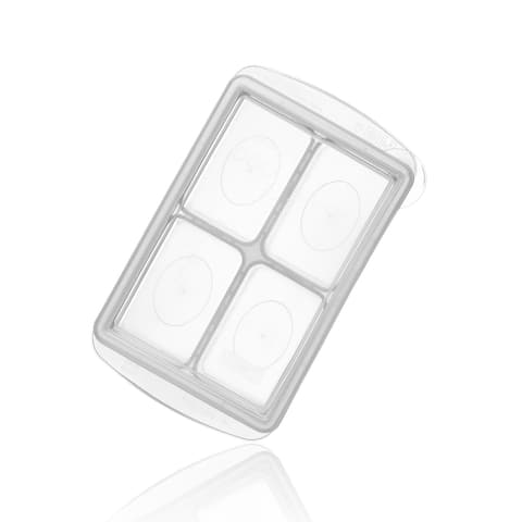 Easily Pops Out 4 Compartments Ice Cube & Food Tray (White)