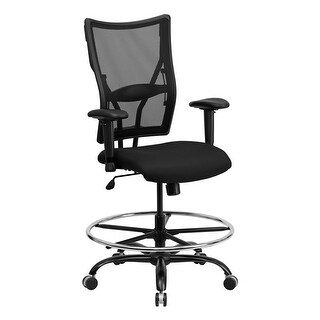 Offex HERCULES Series 400 lb. Capacity Big & Tall Black Mesh Drafting Stool with Arms [OF-WL-5029SYG-AD-GG]