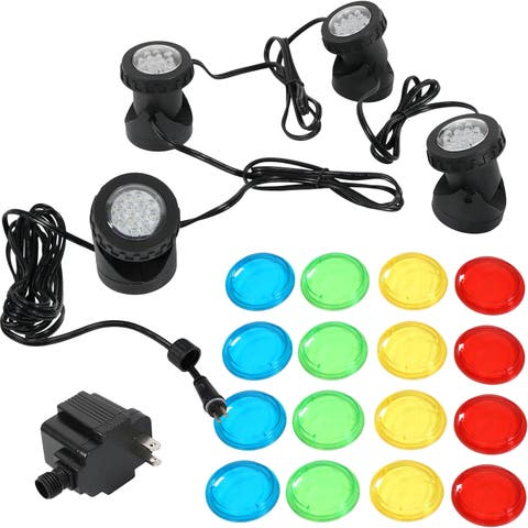 Sunnydaze Submersible Electric Light Kit with Transformer - 4-Pack LED Lights