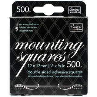 """.5""""X.5"""" White; Permanent-Couture Creations Double-Sided Mounting Squares 500/Pkg"""