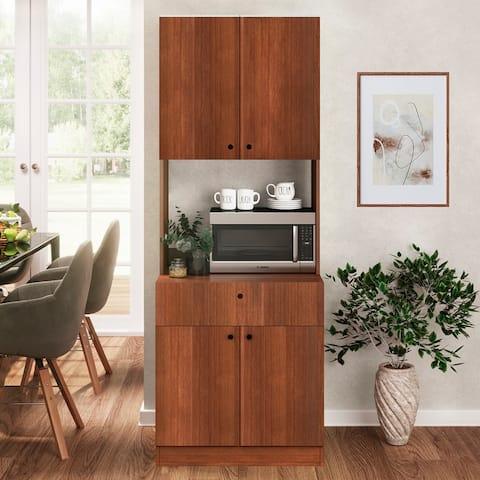 Living Skog Scandi Pantry Kitchen Storage Cabinet White For Microwave