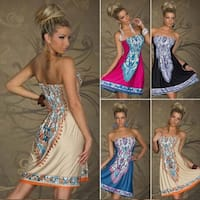 Strapless Paisley Print Dress in 6 Styles