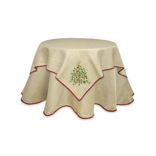 Pack of 2 Gold with Red Trim Christmas Tree Holiday Tablecloth Square Table Toppers 54""