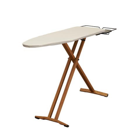 Household Essentials Ironing Board with Solid Pine Wood T-Leg and Iron rest
