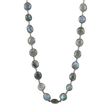 Oxidized Sterling Silver Labradorite Bazel Chain