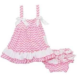 Wenchoice Baby Girls Pink White Bow Ruffles Swing Top Set