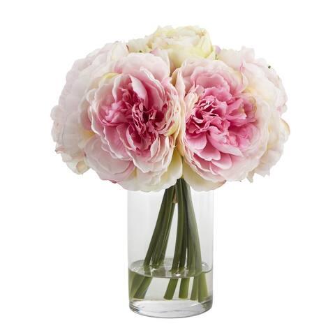 """11"""" Peony Bouquet Artificial Arrangement in Glass Vase"""