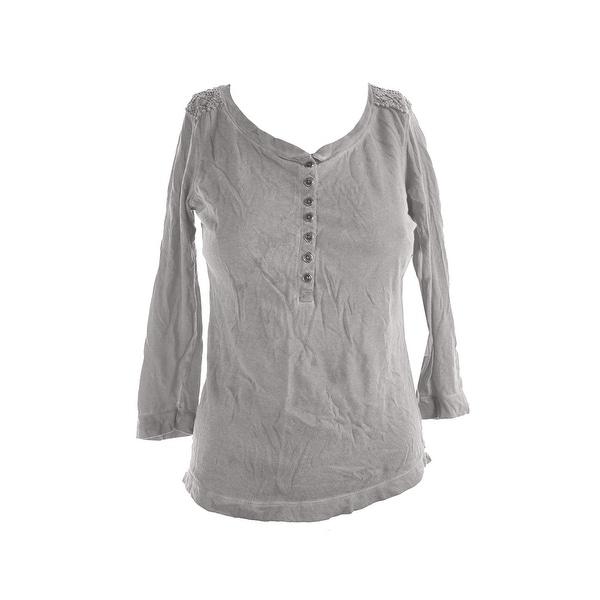 bade7abd Shop Lauren Ralph Lauren Grey Crochet-Trim Henley Top M - Free ...
