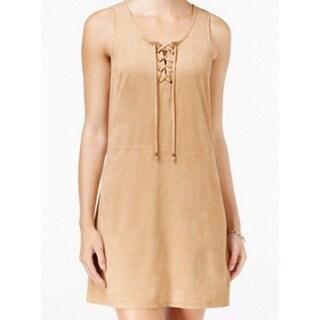 Bebop NEW Beige Camel Size Medium M Junior Shift Lace Up Faux-Suede Dress