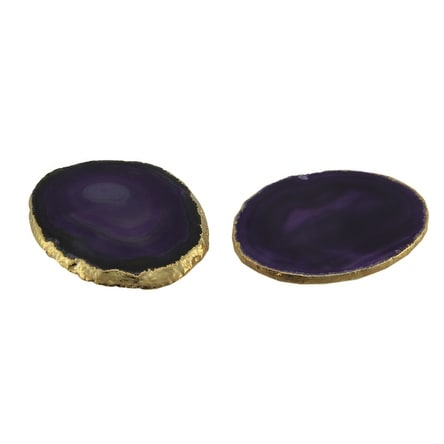 Purple Polished Brazilian Agate Slice Golden Gilded Edge Stone Coaster