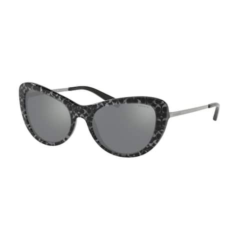 Coach Cateye HC8247 Women GUNMETAL SIG C OUTSIDE Frame GUNMETAL MIRROR Lens Sunglasses
