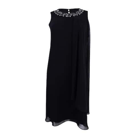 Vince Camuto Women's Embellished Trapeze Dress - Black