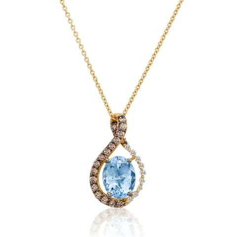 Encore by Le Vian 14K Rose Gold Sea Blue Aquamarine 1 3/8 CT, Chocolate Diamonds 1/3 CT & Vanilla Diamonds 1/15 CT Pendant