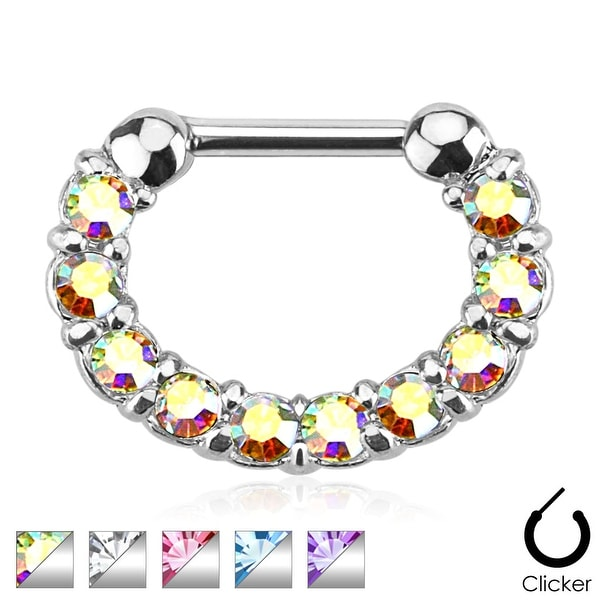 One pc Round Paved Gems 316L Surgical Steel Septum Clicker