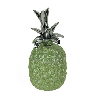 Green Ceramic Tropical Pineapple Decorative Jar - 11 X 5.5 X 5.5 inches