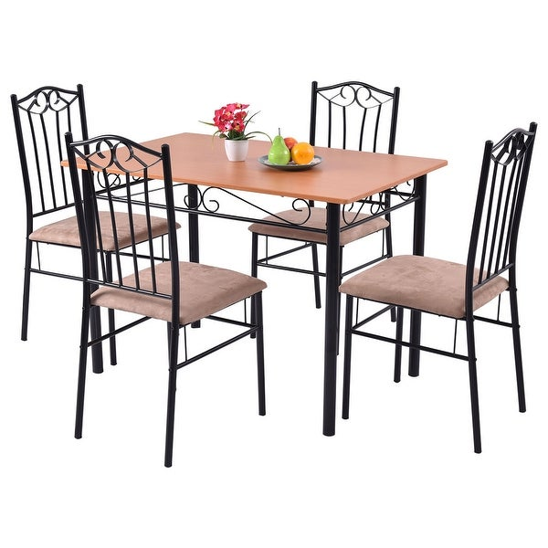 Modern 5pc Dining Table Set Kitchen Dinette Chairs: Shop Costway 5 PC Dining Set Wood Metal Table And 4 Chairs