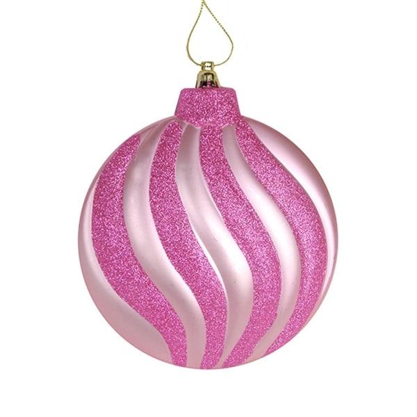 "6ct Matte Bubblegum Pink Swirl Shatterproof Christmas Disc Ornaments 6.25"""