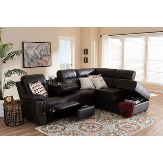 Roland 2pcs Dark Brown Faux Leather Sectional w/Storage Chaise - Faux Leather