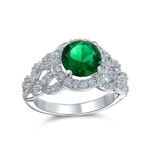 Solitaire CZ Imitation Emerald Green Statement Ring Silver Plated