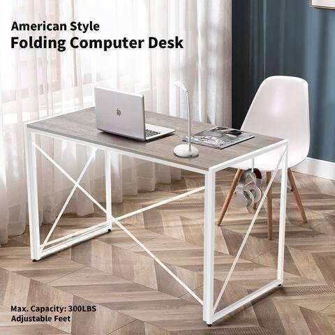 NOVA FURNITURE Home Office Folding Computer Desk, Learning Desk with Rustic Desktop