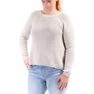 RACHEL ROY Womens Ivory Long Sleeve Jewel Neck Sweater Size: L