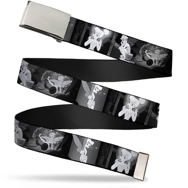 Blank Chrome Buckle Tinker Bell Scenes Black White Webbing Web Belt