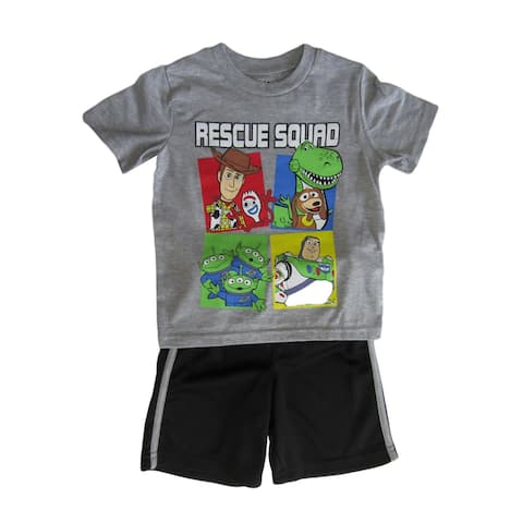 Disney Grey Black Toy Story 4 Rescue Squad T-Shirt Shorts Set Little Boys