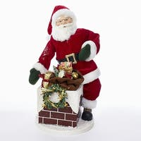 """18"""" Red and White KSA Kringles Santa with Chimney Christmas Decoration"""