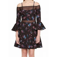 Guess Black Womens Size 2 Floral Print Bell Sleeve A-Line Dress