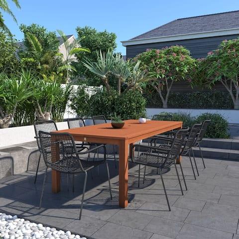 Amazonia Arlington Eucalyptus Wood 7-Piece and 9-Piece Outdoor Rectangular Dining Table Set