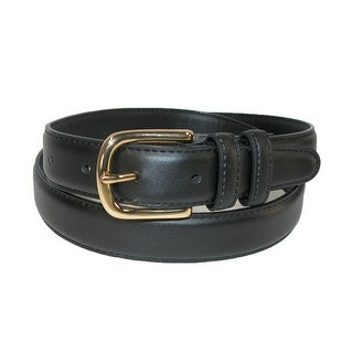 Aquarius Men's Big & Tall Leather Feather Edge Belt with Gold Buckle