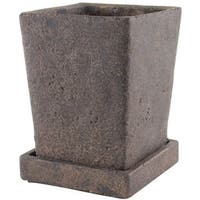Syndicate Home & Garden 7910-04-902 Tapered Square Planter With Tray, Brown