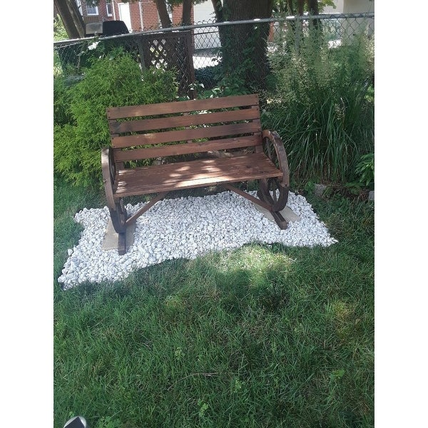 Outsunny Rustic Wood Outdoor Patio Wagon Wheel Wooden Bench Seat Free Shipping Today 22357399