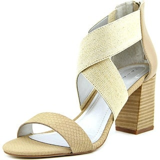 Tahari Aruba Women Open-Toe Canvas Nude Heels