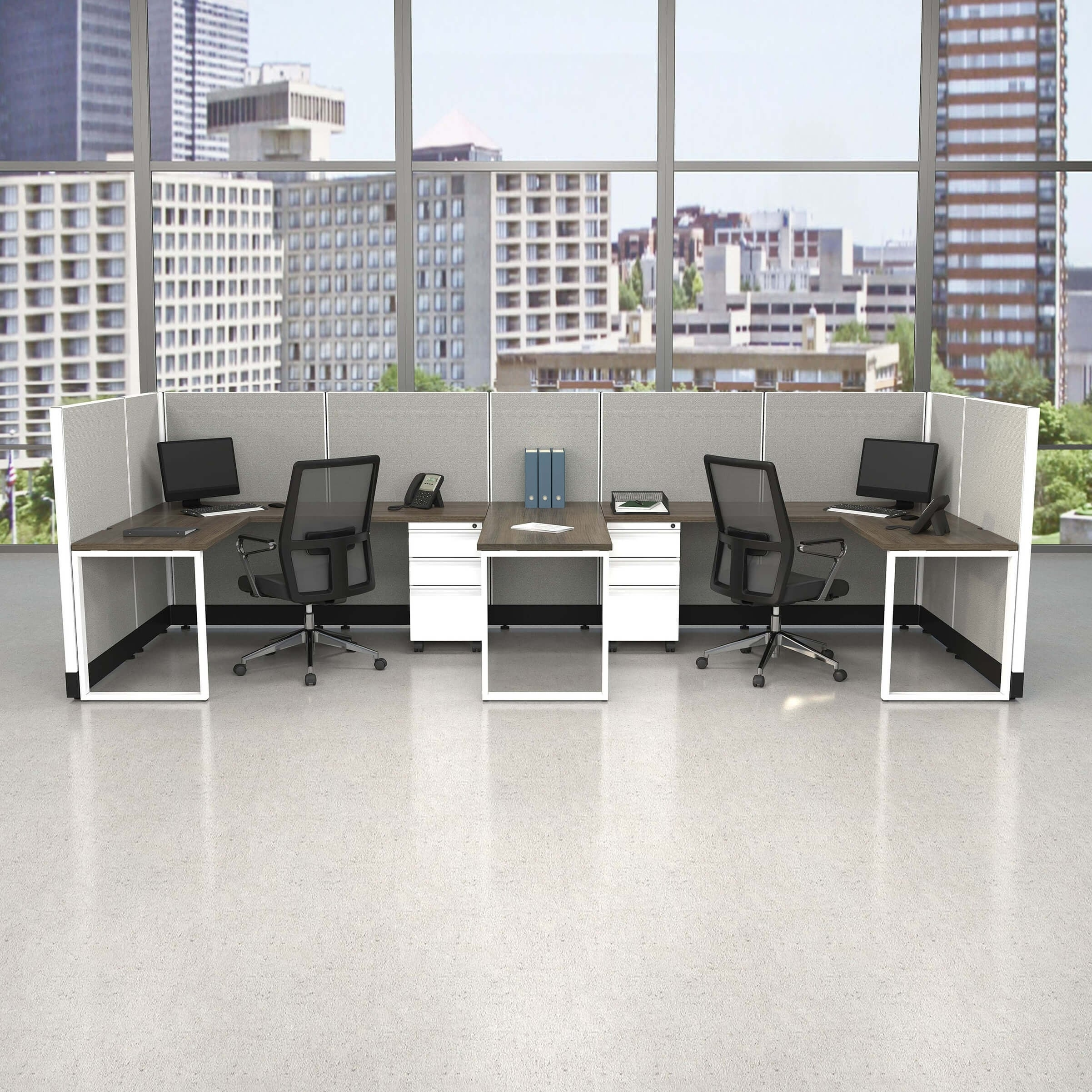 Commercial Office Furniture 53H 2pack Bullpen Powered (5x6 - White Desk Silver Paint - Assembled)