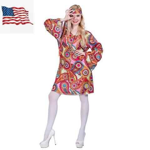 Eraspooky Women's 70's Hippie Groovy Lady Halloween Costume
