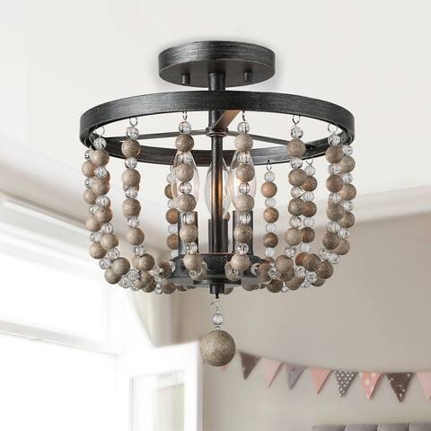 "Modern Farmhouse 3-Light Boho Wood/ Crystal Beads Flush Mount Lights - W12""x H13.5"""