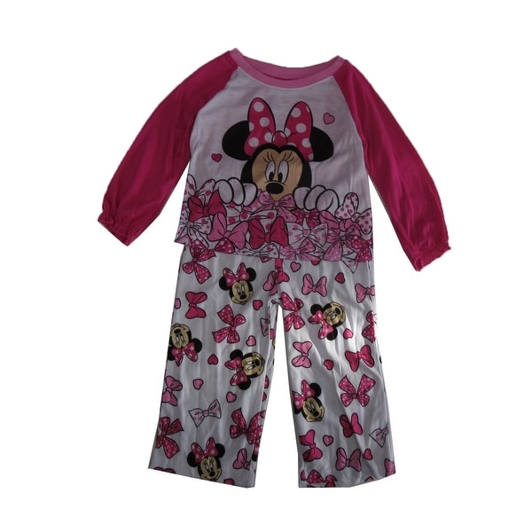 Disney Little Girls White Pink Minnie Mouse Long Sleeve 2 Pc Pajama Set afb0dfc4b