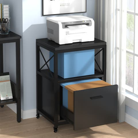 Rolling Files Cabinet, Mobile Vertical Filing Cabinet fits Letter/ A4 Size