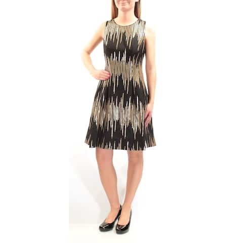 4fd274f2d940 VINCE CAMUTO Womens Gold Sequined Sleeveless Jewel Neck Knee Length Party  Dress Size: 2