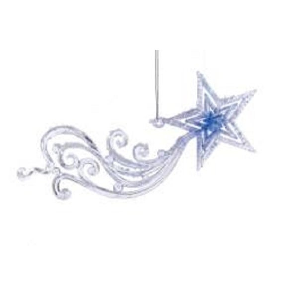 """7.75"""" Frosted Kingdom Blue Meteor Decorative Christmas Ornament"""