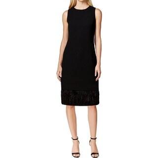 Calvin Klein Womens Petites Cocktail Dress Feather Trim Tiered