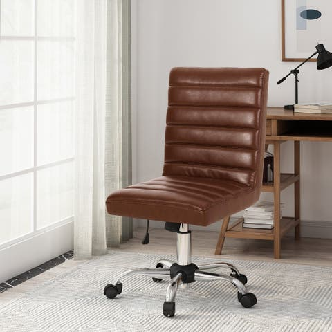 Sagle Channel Stitch Swivel Office Chair by Christopher Knight Home