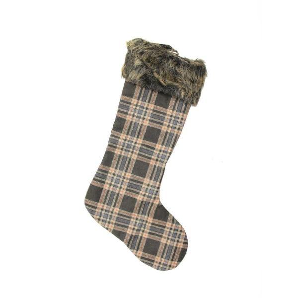 "21"" Country Cabin Brown and Beige Plaid Christmas Stocking with Faux Fur Cuff"