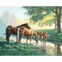 """Horses By A Stream - Paint Works Paint By Number Kit 20""""X16"""""""
