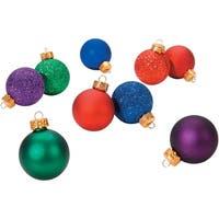 """Mini Plastic Ball Ornaments 1.18"""" 9/Pkg-Red/Blue/Green/Purple, Satin & Glitter"""