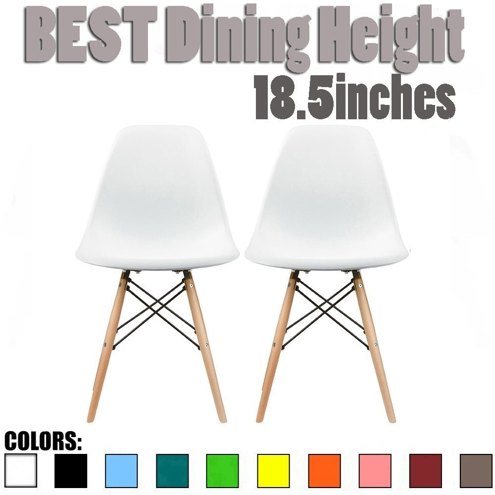 2xhome - Set of 2 White Molded Shell Designer Side Plastic Eiffel Chairs Wood Legs Dining Room Living Office Conference DSW
