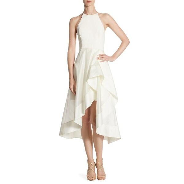 efe2aa57f65a Shop Halston Heritage High Neck Asymmetric Hem Dress Cream - Free ...