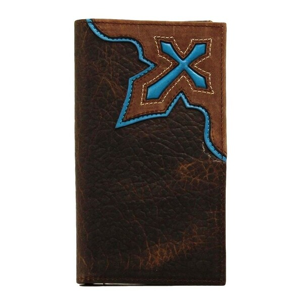 Nocona Western Wallet Mens Rodeo Checkbook Cross Inlay - One size